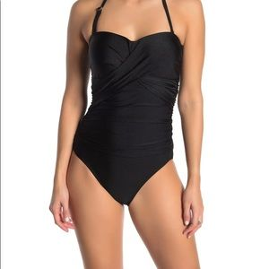 Tahari rouched sweetheart one piece swimsuit